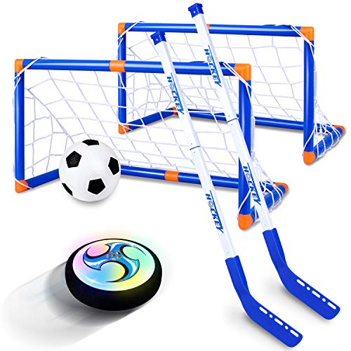 CUKU Kids Toys - Hockey Set with Rechargebale Hover Soccer 2 Goals - Air Power Training Ball Playing Hockey Game - Hockey Toys 3 4 5 6 7 8 9 10 11 12 Year Old Boys Girls Best Gift