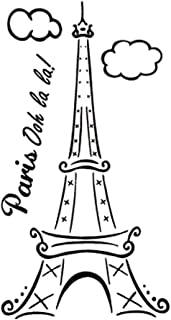 BooDecal Paris Ooh La La Eiffel Tower Quotes Wall Decals Lettering Black Vinyl Stickers for Girls Bedroom Living Room