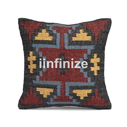 iinfinize Kissenbezug, indisch, 60 x 60 cm, Juteteppich, Vintage-Stil, handgewebt, Kelim-Kissen, dekorativ, quadratisch, Boho, rustikal, handgewebt, Kelim-Kissenbezug, Muster CCB60