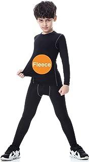 Tesuwel 2/3/4 Pcs Boys Girls Base Layer Athletic Compression Leggings and Shirts Thermal Underwear Set Running Pants Tights