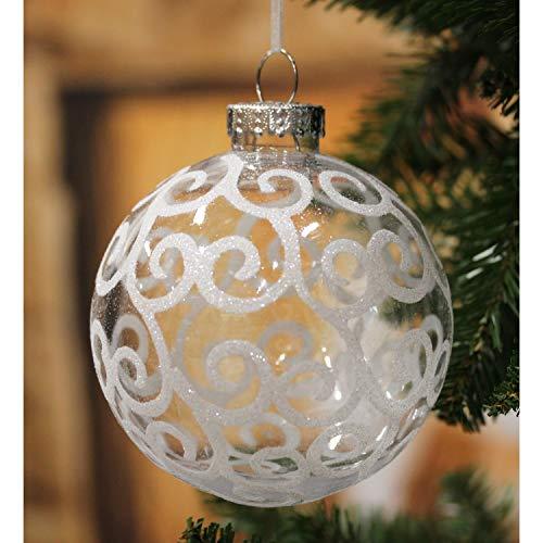 Sleetly Ornamenti per Palline di Albero di Natale, ricciolo Bianco, Set di 4, 120 mm