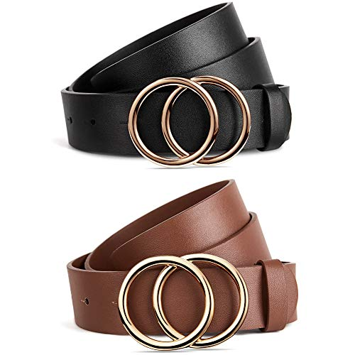 BROMEN 2 Pack Belt for Women Leather Belts for Dress Jeans Pants Waist Belt with Double O-Ring Buckle