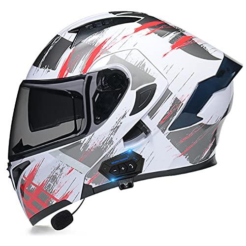 Blanco Casco Moto Modular Bluetooth Integrado ECE Homologado con Doble Visera Cascos Motocicleta a Prueba Viento para Adultos Hombres Mujeres Cruceros Locomotora ( Color : C , Size : L/Large 59-60cm )