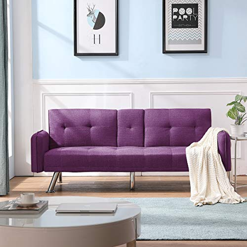 Merax Futon Bed Couch, Modern Sofa Sleeper Design for Living Room or Bedroom, Including Metal Legs and Upholstery Sofabed, Purple