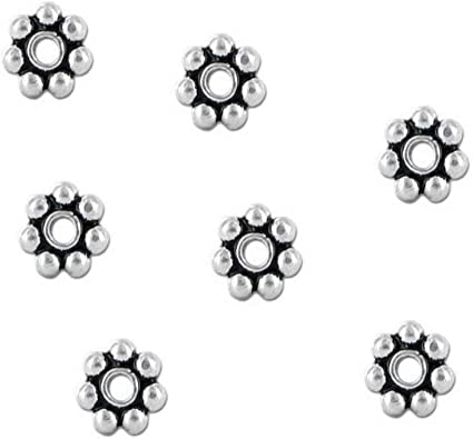Premium Quality Bright Silver 100 Snowflake Spacer Beads