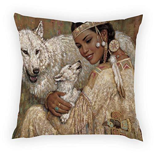 OEWFM Funda de Almohada para sofá Funda de Almohada Decorativa con Estampado de Retrato de Mujer tailandesa Retro con Piel de melocotón Regalo 45X45 CM