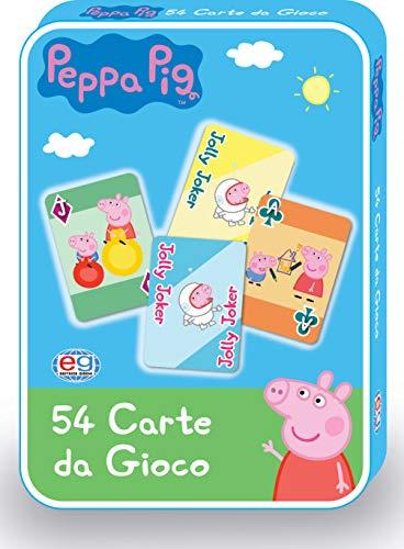 Peppa Pig 6056251 Personalisierte Spielkarten in Metallbox, ab 4 Jahren, 54 Stück