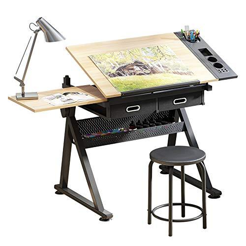 Desks DD Schildertafels, Verstelbaar Kantelbaar Tafelblad Tekening Tafel Thuis Kantoor Duurzame Home Studie Kruk -Werkbank