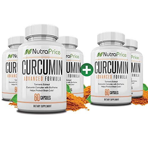 NutraPrice Organic Turmeric Curcumin Supplement with Bioperine - Best for Pain Relief, Inflammation, Blood Pressure Support - Pure 95% Standardized Curcuminiods - XX 42,000 mg Capsules (5 Pack)