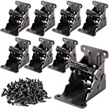 HOZEON 8 Pack 2.68 x 2.48 x 2-1/8 inches Foldable Support Bracket, Heavy Duty Folding Brackets with 88 PCS Screws, Dark Bronze Lock Extension Support for Folding Table Legs, Bed Legs, Desk Legs