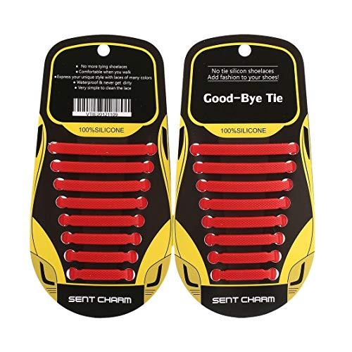 Sanzhileg 16 Pcs Élastique Non-cravate Shoeslaces Lacets De Chaussure De Type T En Silicone Doux pour Hommes Femmes Unisexe Chaussures Baskets Lacets Extensibles - Rouge