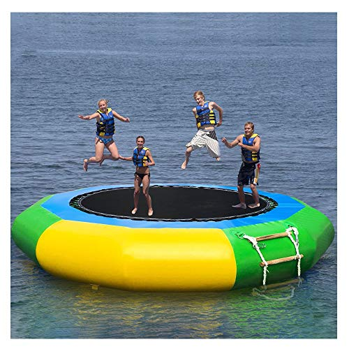 Wotryit 10 Ft Inflatable Water Trampoline Bounce Swim Platform Inflatable Bouncer Jump Water Trampoline Bounce Swim Platform for Water Sports