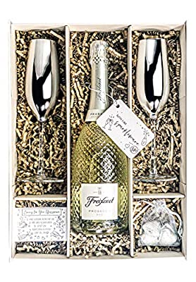 Freixenet Prosecco DOC 75cl Gift Set With Two Metallic Silver Champagne Flutes, Chocolates And Gift Box …
