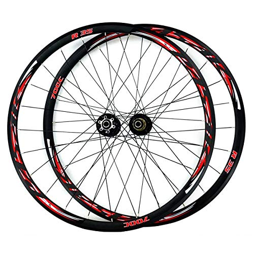 ZCXBHD 700C Road Bike Wheelset Front Rear Wheel Cyclocross Road Disc Brake Wheel V/C Brake Double Wall Quick Release 7 8 9 10 11 Speed (Color : Red 2)