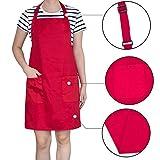 Diealles Kochschürze, Schürze Küchenschürze mit Bindeband und Verstellbare Nackenschlaufe für Frauen Männer Chef, 71 × 66 cm, Rot - 7