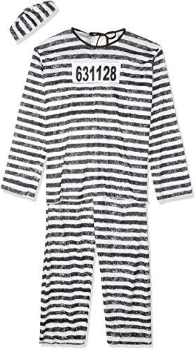 Fun World Men's Adult Jailbird Costume, White/Black, One Size
