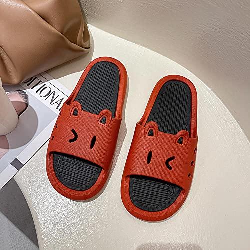 ZZLHHD Quick Drying Bathroom Slippers,Household anti-slip slippers, cartoon bathroom slippers,-red_36-37,men's sandals