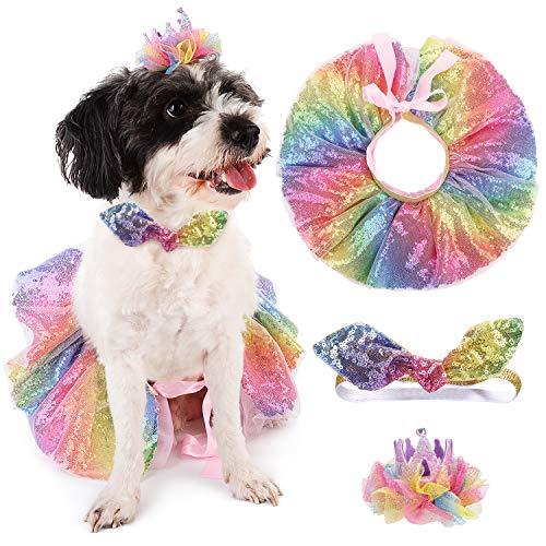 Bangcool Hond Kostuum Tutu Jurk, Pet Tutu Rok Glitter Huisdier Party Rok Hond Tutu Jurk met Hoofdband Haar Clip