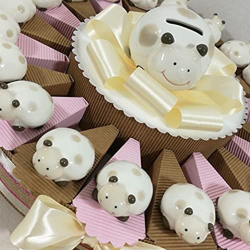 bomboniere Comunione Bimba Torta portaconfetti Coccinelle Porcellana Confetti Inclusi (Torta 20 Coccinelle Bimba)