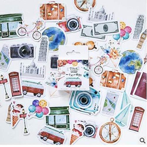 BLOUR Pegatina de Viaje DIY Vintage Retro Clásico Pegatinas de Viaje para Diario Scrapbooking Decoración Adhesivo Memo Pad Papelería46 Unids