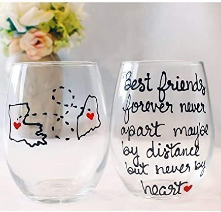 Best Friend Gift For Women | Best Friends Forever Never Apart Maybe By Distance But Never By Heart | Hand Painted Wine Glass | Long Distance Friendship Gift | Stemmed or Stemless Available