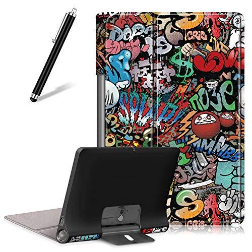 Artfeel Custodia per Lenovo Yoga Smart Tab/Yoga Tab 5 YT-X705F 10.1,Sottile Leggero Pelle Cover Pieghevole Supporto Regolabile Multi-Anglo Caso Slim Flip Folio Tablet Copertura,Graffiti