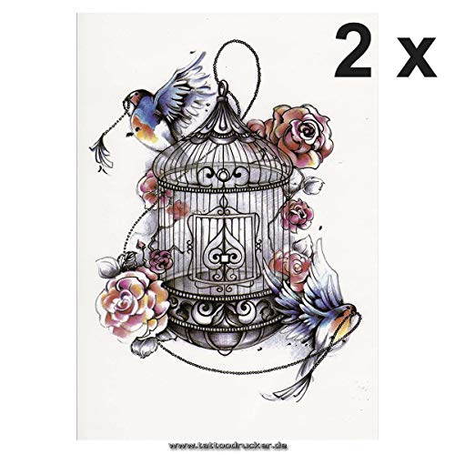 2 x Vogelkäfig, Rosen und Vögel als buntes XL Tattoo - Body Temporary Fake Tattoo - TH442 (2)