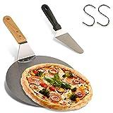 Pala redonda para pizza de acero inoxidable con mango de madera + pala triangular para pizza para horno de pizza, piedras para hornear pizza casera, pizza y pan, pasteles y galletas