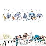 Decoraciones Navideñas Animales De Dibujos Animados Bosque De Nieve Decoraciones Para Árboles De Navidad Habitación De Los Niños Pegatinas De Pared Sala De Estar Artista Decoración Del Hogar Zócalos