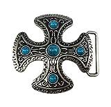 Bijoux xmodefashion - Hebilla para cinturón con diseño de cruz celta, piedra azul turquesa.