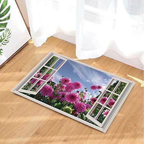 Planten versieren de tuinbloemen buiten het raam Kinderbadkamer tapijt toiletdeur mat woonkamer 50X80CM badkameraccessoires