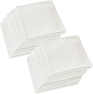 Hangnuo 24 Pack Cotton Handkerchiefs Pure White 16 x 16 Inches, Soft Hankies Pocket Square Towel for Men Women and Kids