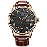 BUREI Men Watch Classic Dress Wrist Watches Analog Quartz Date Display with Black Dial Brown Genuine...