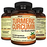 Turmeric Curcumin with BioPerine 1300MG with Black Pepper - Joint Support Nutritional Supplements - 100% Herbal Tumeric Root Capsules - Arazo Nutrition