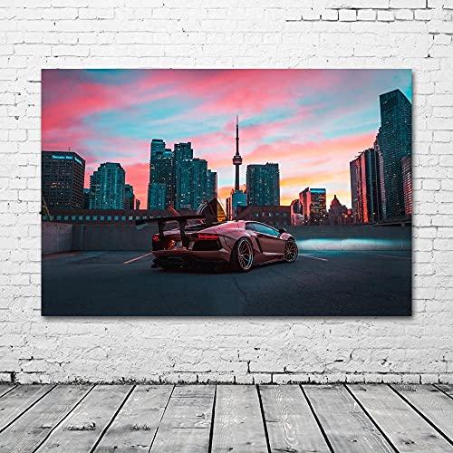 zuomo Supercar Aventador City Night Rascacielos Imagen Arte de la Pared Carteles Impresión de Tela Pinturas en Lienzo para la decoración de la Sala de Estar Sin Marco 50x70cm