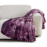 Bedsure Faux Fur Throw Blanket for Couch - Purple Fuzzy Plush Fluffy Soft Sherpa Fleece Blankets and Throws for Sofa and Bed, 50x60 inches