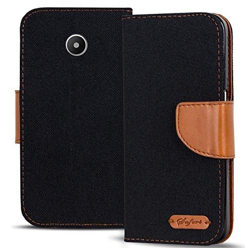 Verco Ascend Y330 Hülle, Schutzhülle für Huawei Y330 Tasche Denim Textil Book Hülle Flip Hülle - Klapphülle Schwarz