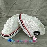 Patucos para Bebé Recién Nacido tipo Converse, 0-3 meses Blanco. Handmade....
