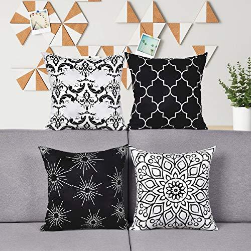 Alishomtll 4er Set Dekorative Kissenbezug Outdoor-Shell-Kissenbezug Zierkissenbezug Kissenhülle Weich für Couch Zimmer 45 x 45 cm, Schwarz