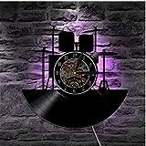 WZCXYX 1 Pieza batería Set Disco de Vinilo Reloj de Pared iluminación Retro Rock Music Band Regalo Disco de Vinilo Regalo de inauguración iluminación LEDWith-with_Led JI
