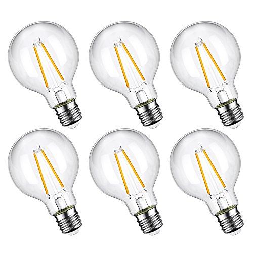 Oak Leaf Edison Globe G25 LED Light Bulbs Dimmable Bathroom Vanity Light Bulb 4W(40W Equivalent),Warm White 2700K,E26 Base,330 Lumens, ETL Listed,Pack of 6