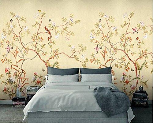 Mznm 3D Wallpaper Senior Zijden Doek 3D Behang Retro Handgemaakte Bloemen En Vogels Borstel Bloemen Nieuwe Chinese Achtergrond Muren 200x140cm