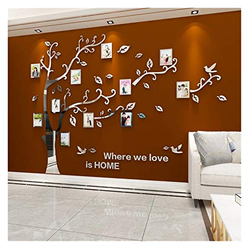 Home decoration Wall Stickers Tree Photo Frame 3D Acrylic Mirror Wall Decals For Sofa TV Background Wall Decor DIY Family Photo Frame Stickers (Color : Silver LEFT, Size : XL about 2.7x2m)