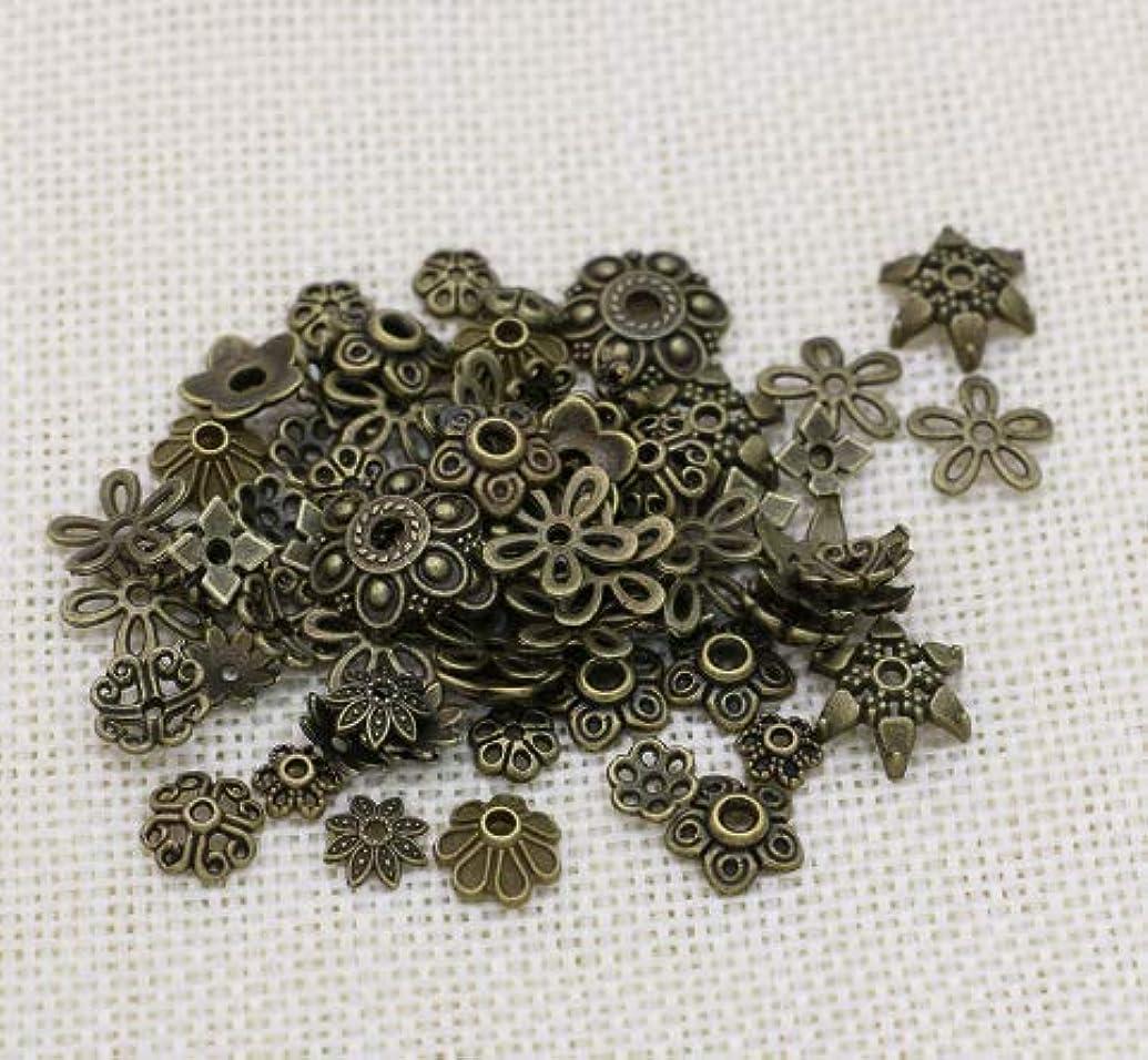 Bingcute 200Pcs Assorted Metal Tibetan Bronze Bead Caps,Bali Style Beads Making for Jewelry (Antique Bronze)
