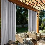ele ELEOPTION Cortina de Exterior Impermeable, Opaca, Resistente al Viento, Protección UV, para Balcón, Jardín o Patio (4 Pieza 137 x 213cm, Gris Claro)