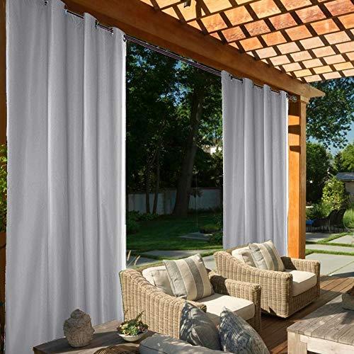 ele ELEOPTION Outdoor Vorhang mit Ösen, Wasserdicht Outdoorvorhäng UV-Schutz Winddicht Verdunkelungsvorhang für Pavilion Strandhaus Garten Patio Balkon (Grau, 2PCS/ 132 X 240 cm)