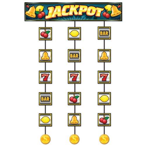 Beistle Slot Machine Jackpot Stringer Casino Hanging Decorations Las Vegas Theme Wedding Bridal Shower Bachelor Party Game Night, 4, Multicolored