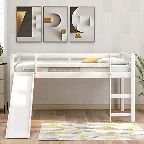 Twin Loft Bed with Slide for Kids, Wood Low Sturdy Loft Bed, No Box Spring Needed, White