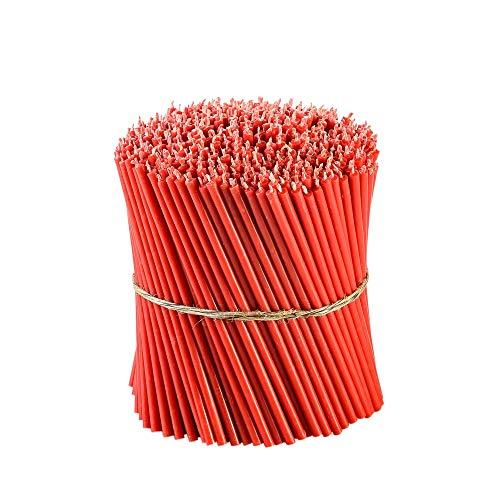 Danilovo Ritual bijenwas kaarsen (rood) - Orthodoxe kaarsen voor gebed tafeldecoratie bruiloft - niet giftig, roet - druppelvrij, lang, duurzame producten, N140, hoogte: 16 cm, Ø 5 mm (700 stuks - 2000 g)