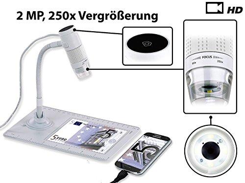 Somikon USB Mikroskop: Digitales Mikroskop mit HD-Kamera und Ständer, 2 MP, 250x Vergrößerung (Digitalmikroskop)